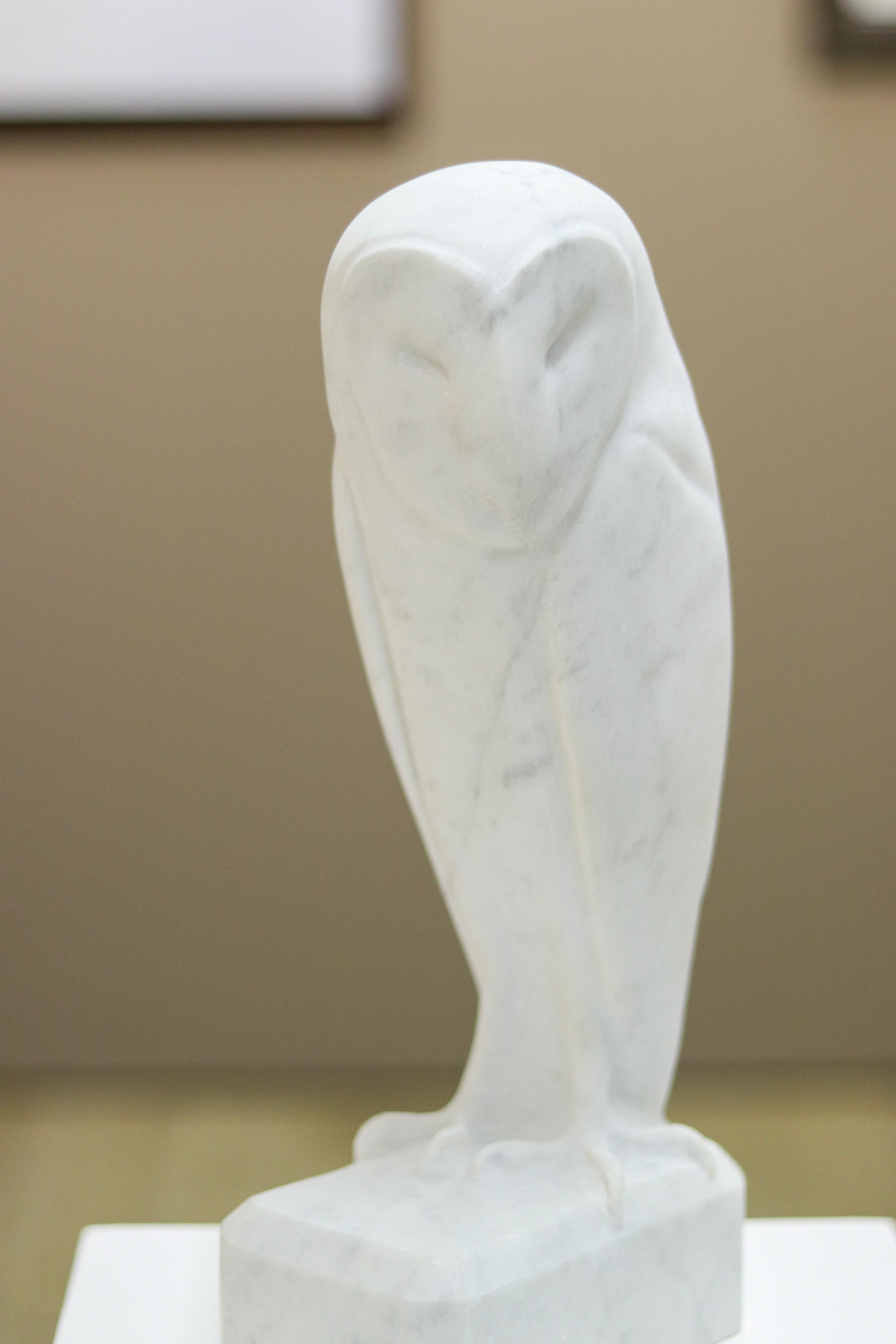 Barn Owl- 21st Century Dutch marble sculpture of an owl