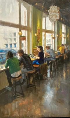 Coffeelab - 21st Century Contemporary Oil Painting by Richard van Mensvoort