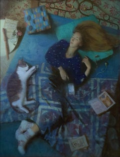 Lazy Morning - 21st Century Contemporary Oil Painting by Ksenya Istomina
