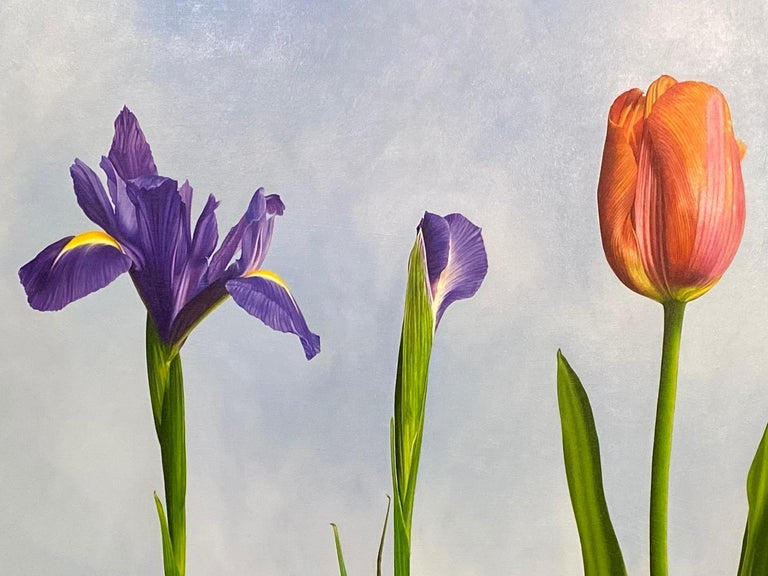 5 Irises and 1 Tulip- 21st Century Oilpainting of flowers in bright colors - Gray Figurative Painting by JP Marsman