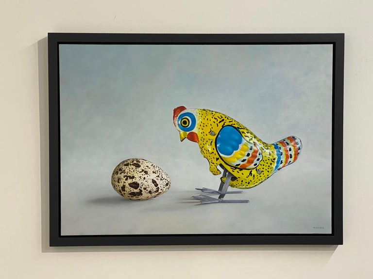 Huh? - 21st Century Dutch  Still-life painting of a Tin Toy Chicken and an egg - Gray Still-Life Painting by JP Marsman
