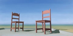 The Meeting - 21st Century Contemporary Oil Painting of Chairs with Blue Sky