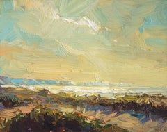 Seascape, Light from a Dune - 21st Century Contemporary Oil Painting of Blue Sky