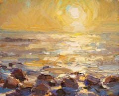 Seascape, Rocks and Yellow Sunshine - 21st Century Contemporary Oil Painting