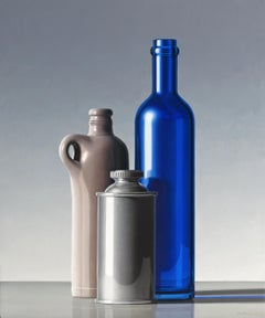 Composition with Blue Bottle - 21st Century Contemporary Oil Painting Still-Life
