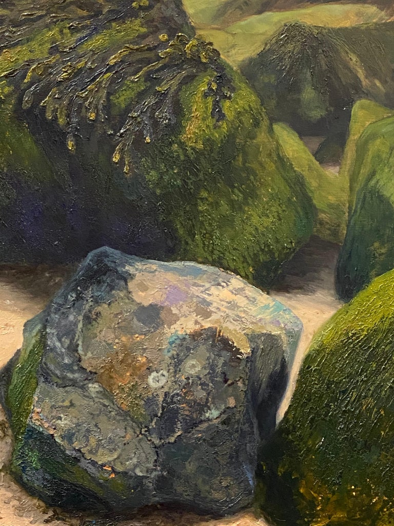 Stones on the Beach- 21st Century Contemporary landscape painting  For Sale 1