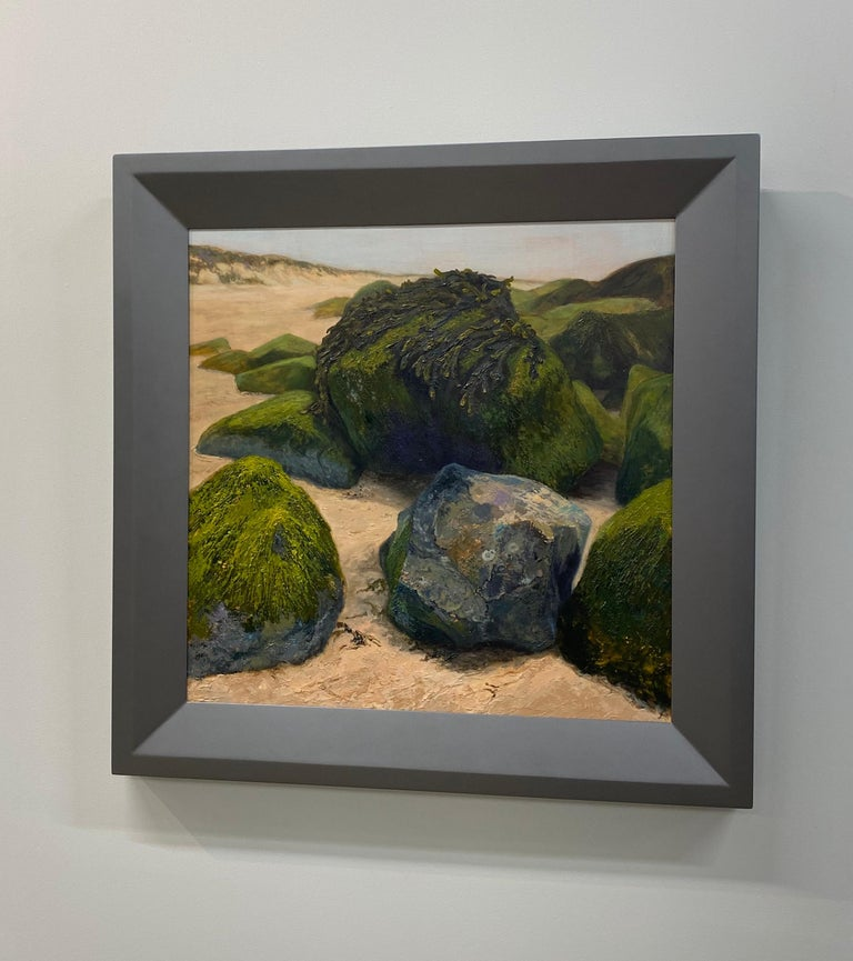 Stones on the Beach- 21st Century Contemporary landscape painting  - Painting by Esther Schlebos