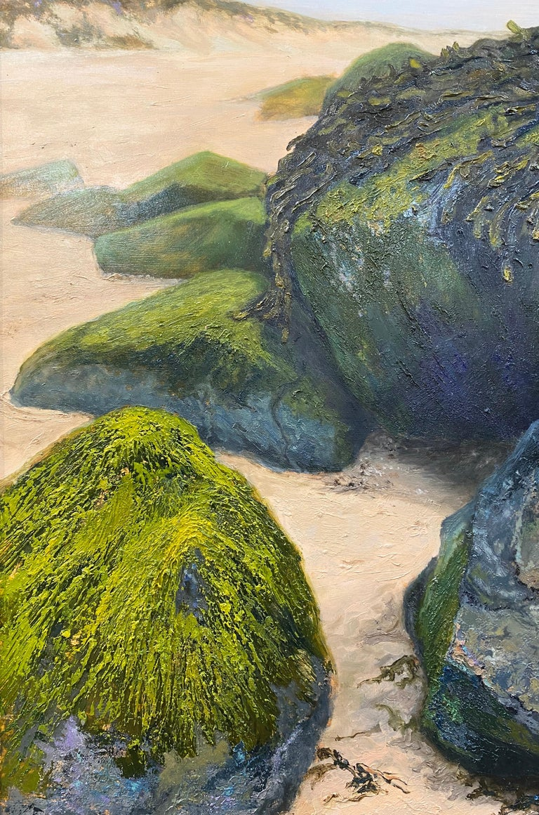 Stones on the Beach- 21st Century Contemporary landscape painting  - Black Figurative Painting by Esther Schlebos