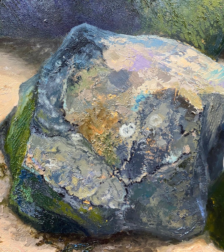 Stones on the Beach- 21st Century Contemporary landscape painting  For Sale 2