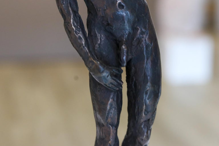 Male Nudity - 21st Century Contemporary Bronze Sculpture of a Nude Man Standing For Sale 2