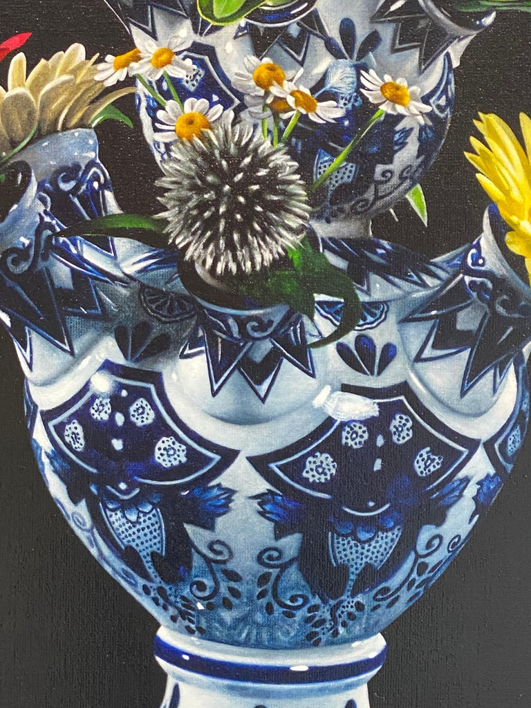 Flowers-21st Century  Realistic Still-life Painting of a Tulip vase with Flowers For Sale 4