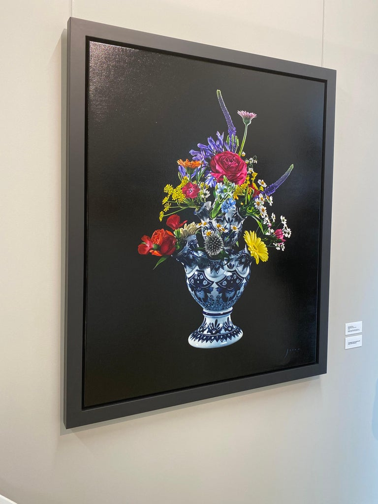 Flowers-21st Century  Realistic Still-life Painting of a Tulip vase with Flowers For Sale 5