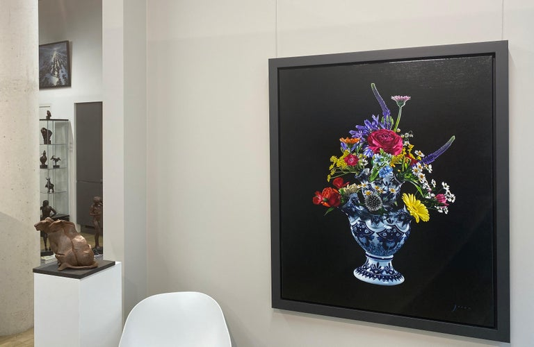 Flowers-21st Century  Realistic Still-life Painting of a Tulip vase with Flowers - Black Figurative Painting by Joran van der Haar
