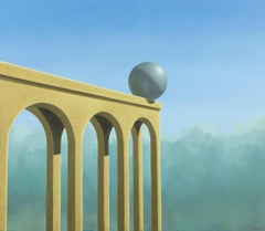 Balance - 21st Century Contemporary Oil Painting of a Big Ball on the Edge