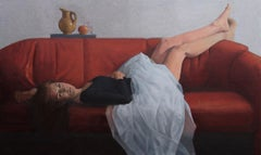 Woman with Still-Life - 21st Century Contemporary Oil Painting of Woman on Couch