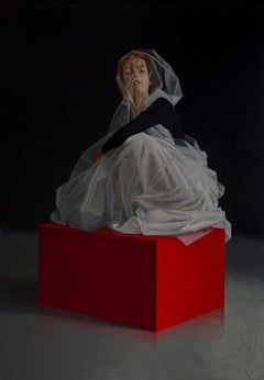 Woman on Shelf - 21st Century Contemporary Oil Painting of a Woman in a Dress