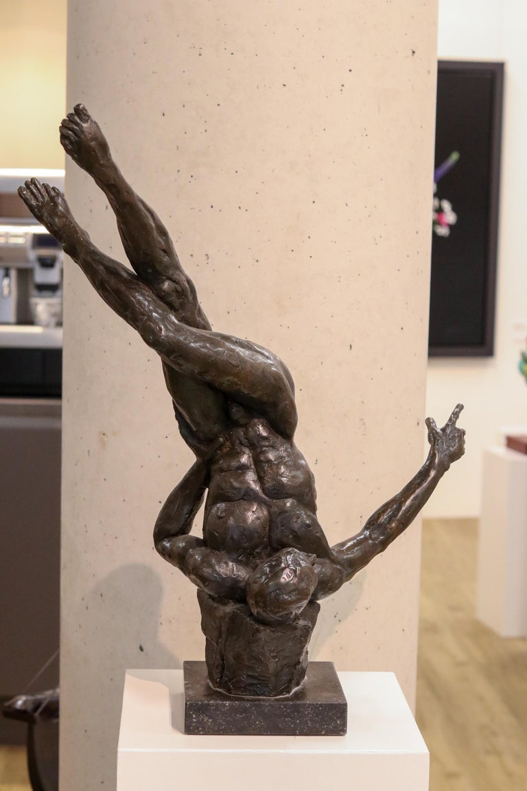 Romee Kanis Nude Sculpture - Turnover - 21st Century Contemporary Bronze Sculpture of a Dancing Nude Man