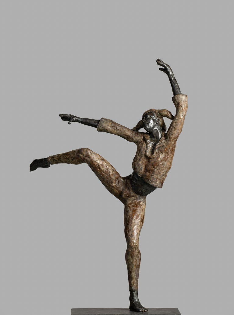Romee Kanis Figurative Sculpture - Harlequin - 21st Century Contemporary Bronze Sculpture of a Dancing Jester