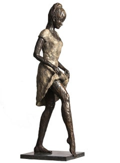 Spring- 21st Century Sculpture of a young woman with a foot in the water