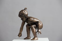 Beach Fun- 21st Century Contemporary Bronze Sculpture of a Playing Girl