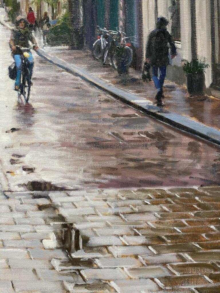 Rain in Amsterdam- 21st Century Contemporary Dutch Cityscape Oilpainting  4