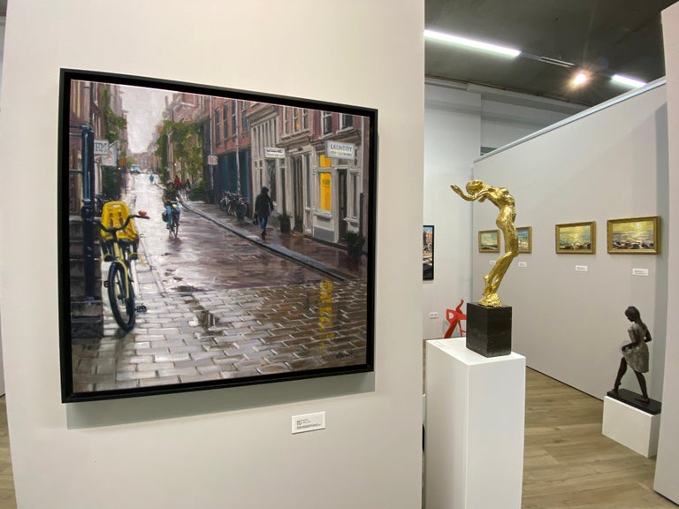 Rain in Amsterdam- 21st Century Contemporary Dutch Cityscape Oilpainting  - Painting by Richard van Mensvoort