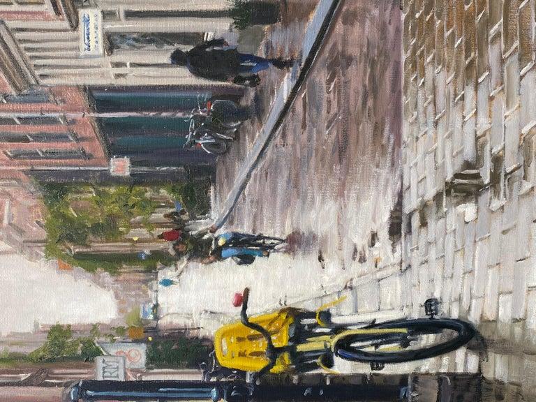 Rain in Amsterdam- 21st Century Contemporary Dutch Cityscape Oilpainting  1