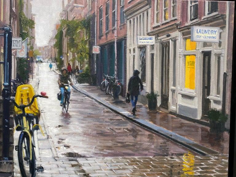 Rain in Amsterdam- 21st Century Contemporary Dutch Cityscape Oilpainting  2