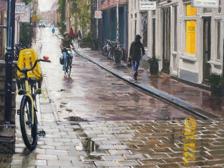 Rain in Amsterdam- 21st Century Contemporary Dutch Cityscape Oilpainting  3