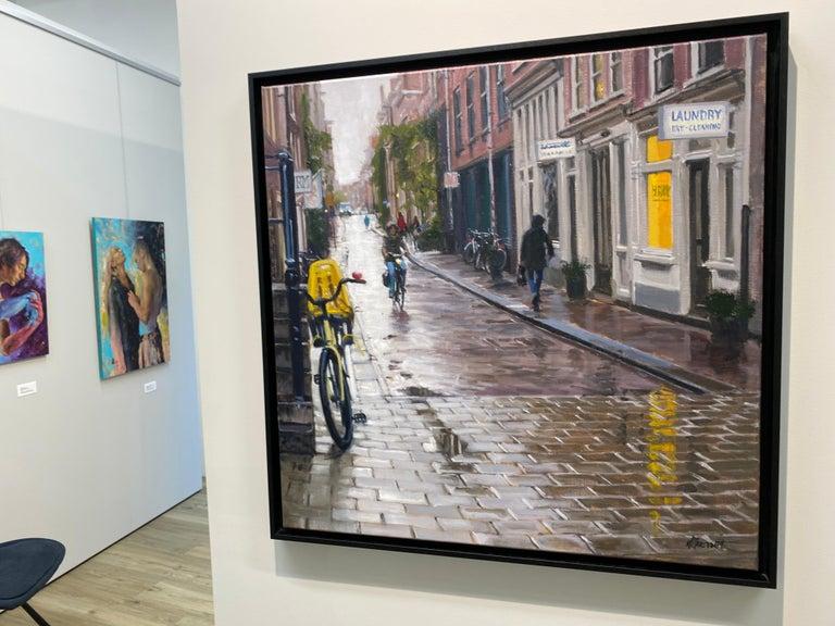 Rain in Amsterdam- 21st Century Contemporary Dutch Cityscape Oilpainting  5