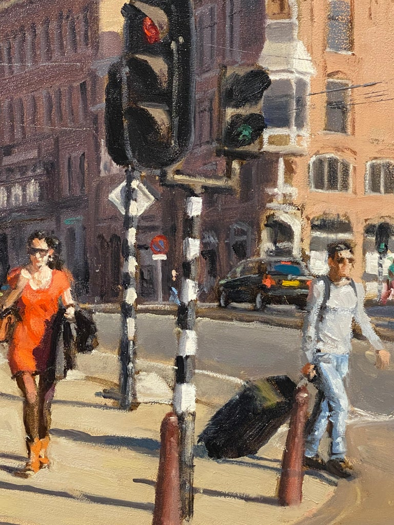 Red Dress- 21st Century Contemporary Cityscape ( Amsterdam) - Black Landscape Painting by Richard van Mensvoort