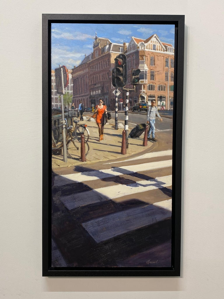 Red Dress- 21st Century Contemporary Cityscape ( Amsterdam) For Sale 2