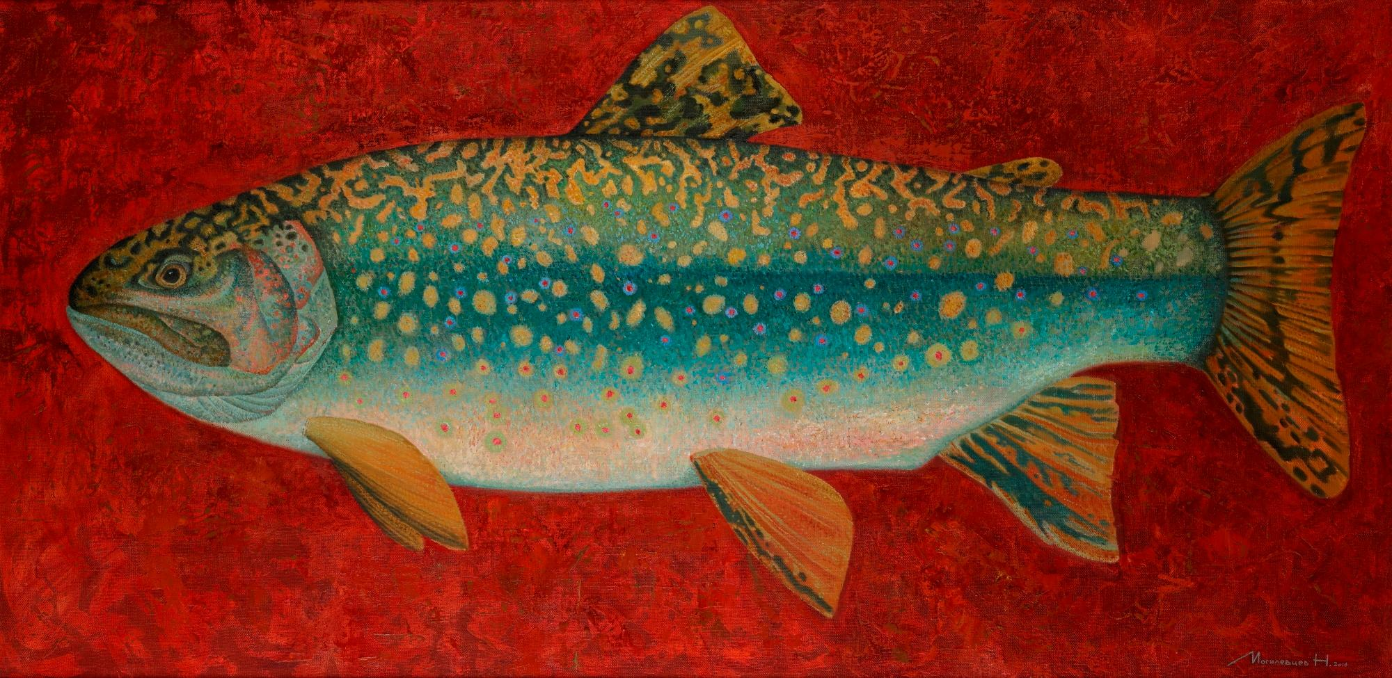 Brook Trout- 21st Century Contemporary Oil Painting on canvas of a Fish