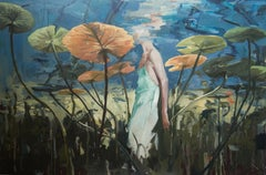 Sleepwalker - Contemporary Oil Painting of a Woman Seen From Under Water