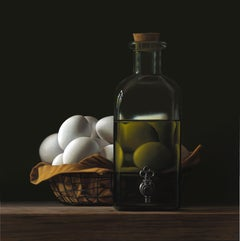 Bottle of Oil with Eggs- 21st Century Contemporary Still-life Painting with Eggs