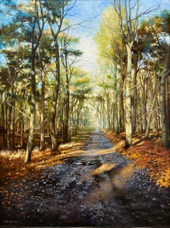 Forest with Sun and Trees - 21st Century Contemporary Landscape Painting