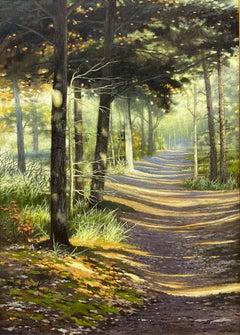 Sunshine in Dutch Forest - 21st Century Contemporary Dutch Landscape Painting