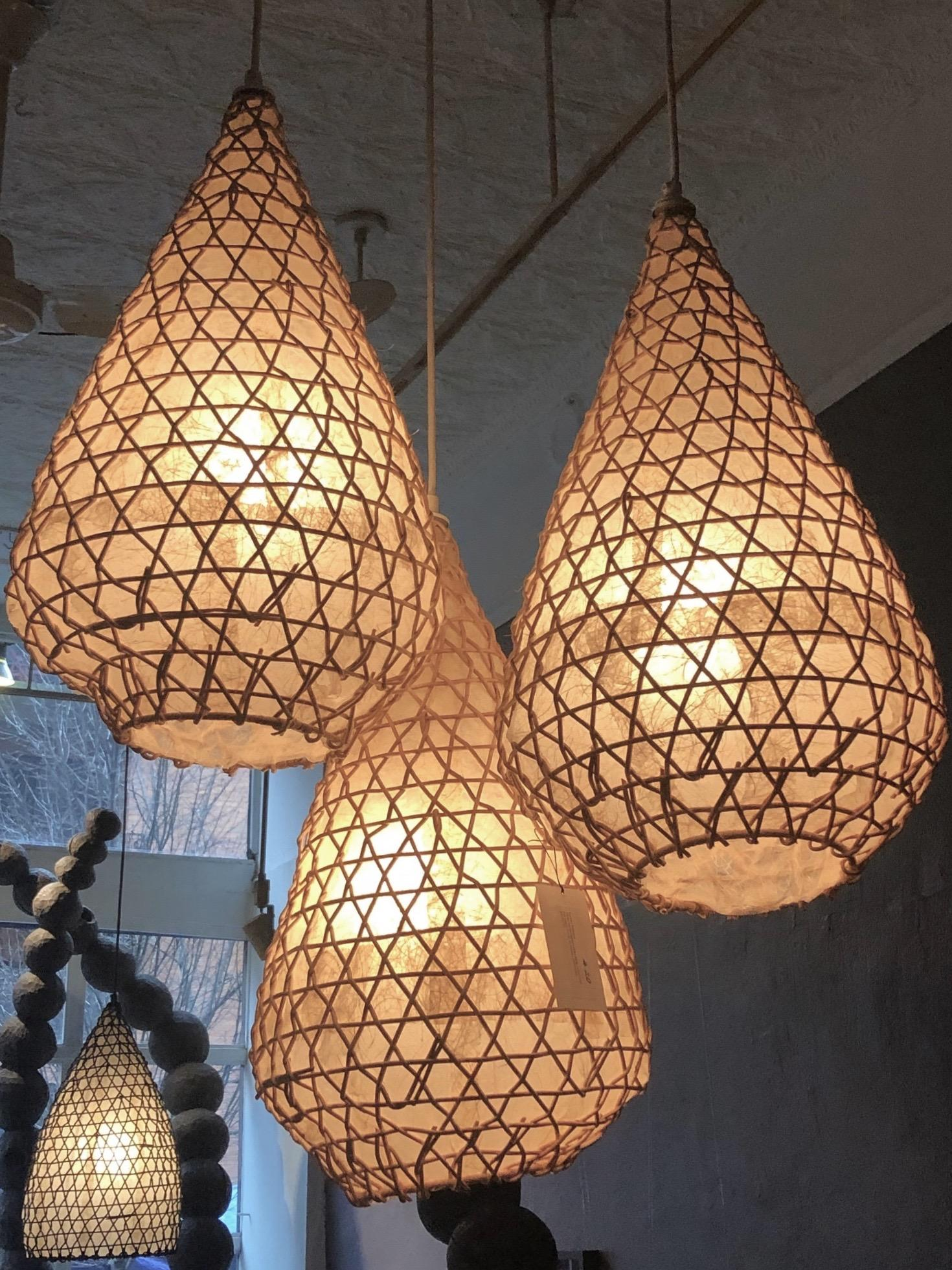 Votive lights  ( Set of Three lamps ), Naturally finished Rattan
