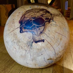 Sphere Carved with Abstraction, Tamarind wood