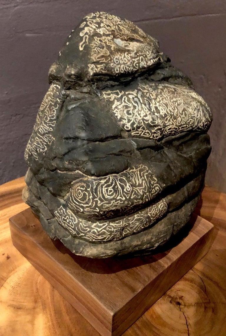 Amy Pilkington  Abstract Sculpture - Hand Engraved River Rock, Beacon, NY