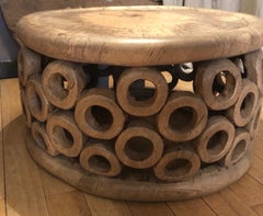 Bangle Coffee Table, Blacknut with blackened accents