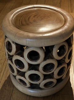 Bangle Side Stool, Hand carved in Cameroon, West Africa