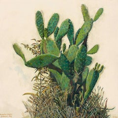 Prickly Pear Cactus, Greenside- Botanical painting, Oil paint on Canvas