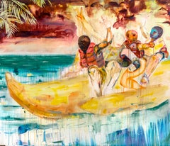 Banana Boat- Contemporary Art, Mixed Media on Canvas, 21st Century