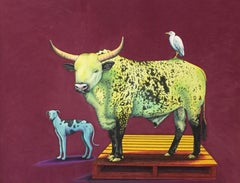 Green Cow, Blue Dog - Contemporary, Pastel on Fabriano Paper, 21st Century