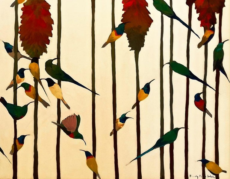 Sunbirds & Aloes - Contemporary, Acrylic on canvas laid on board, 21st Century For Sale 2