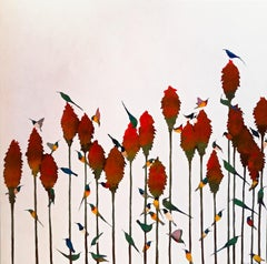 Sunbirds & Aloes - Contemporary, Acrylic on canvas laid on board, 21st Century