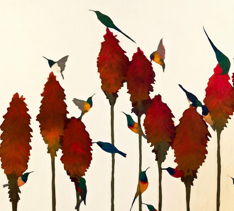 Sunbirds & Aloes - Contemporary, Acrylic on canvas laid on board, 21st Century For Sale 1