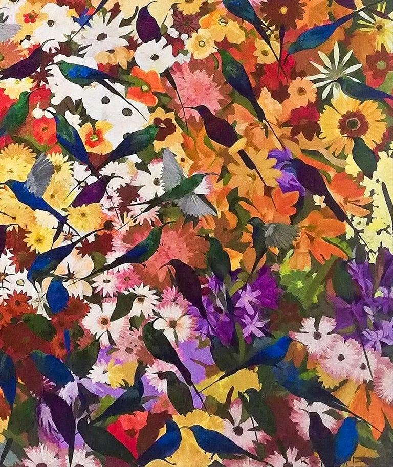 Sun birds in a garden- Contemporary painting, Acrylic on Canvas, 21st Century For Sale 1