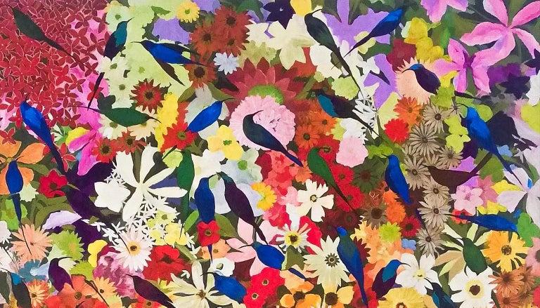 Sun birds in a garden- Contemporary painting, Acrylic on Canvas, 21st Century For Sale 2